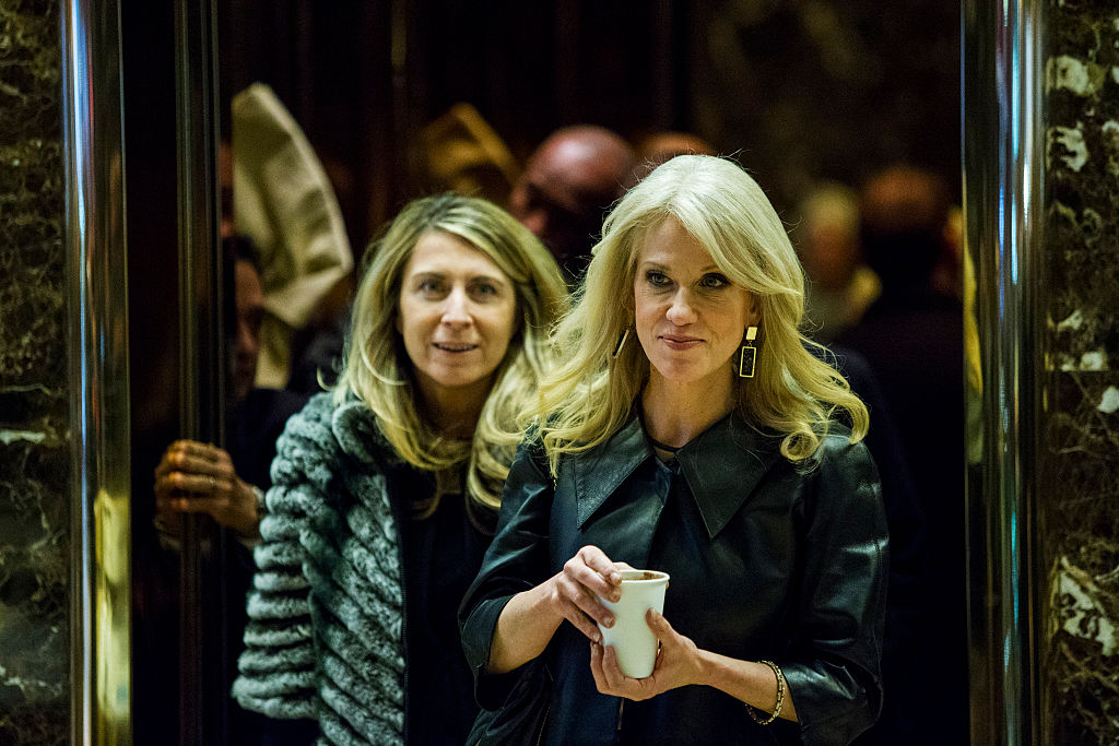 Kellyanne Conway exits an elevator in Trump Tower in New York City (Getty Images)