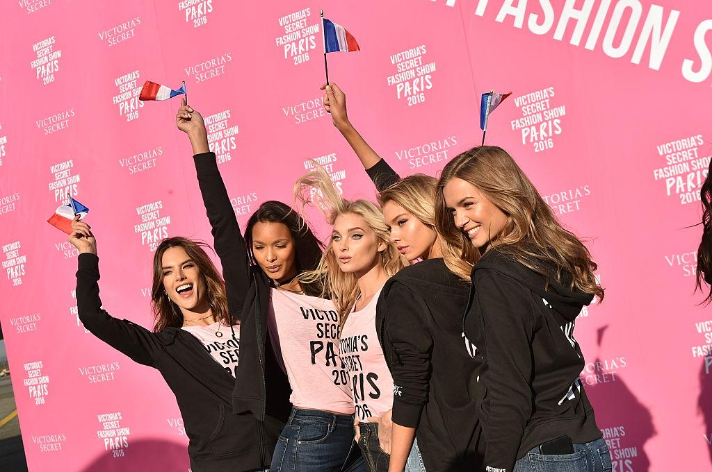 Victoria's Secret models Alessandra Ambrosio, Lais Ribeiro, Elsa Hosk, and Josephine Skriver depart for Paris. (Photo by Mike Coppola/Getty Images for Victoria's Secret)