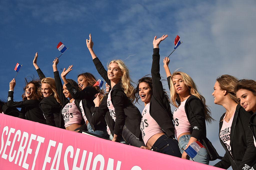 Victoria's Secret models board the plane for Paris. (Photo by Mike Coppola/Getty Images for Victoria's Secret)