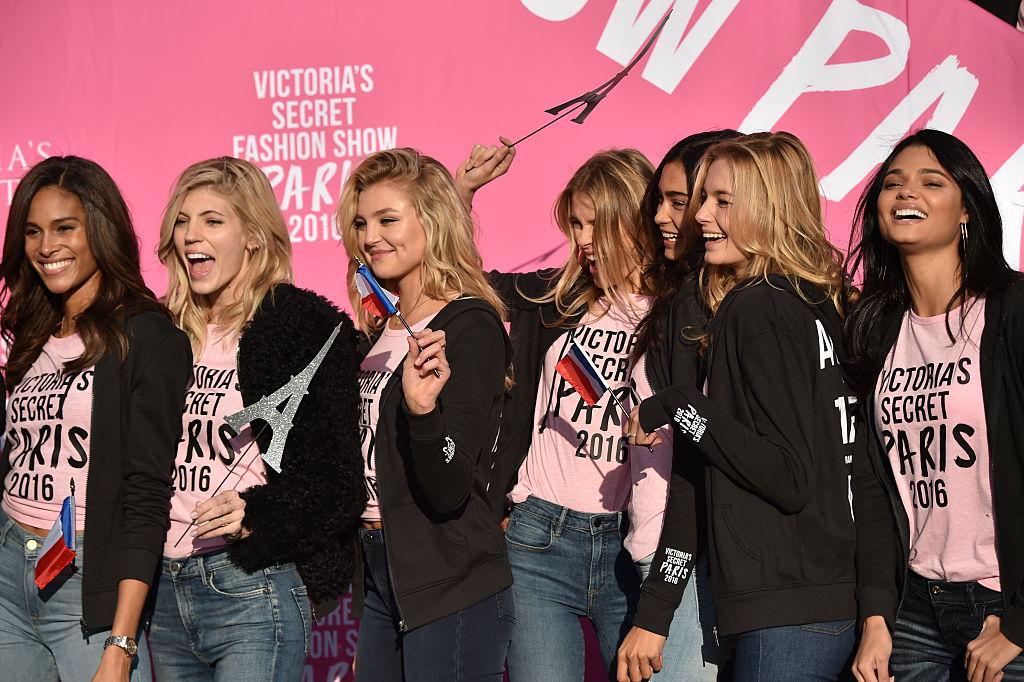 Victoria's Secret models Cindy Bruna, Devon Windsor, Rachel Hilbert and Daniele Braga excited for Paris. (Photo by Mike Coppola/Getty Images for Victoria's Secret)