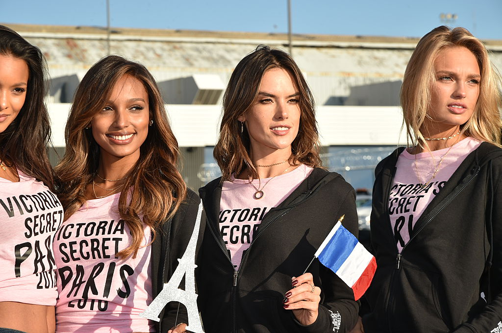 Victoria's Secret models Jasmine Tookes, Alessandra Ambrosio and Romee Strijd depart for Paris for the 2016 Victoria's Secret Fashion Show. (Photo by Mike Coppola/Getty Images for Victoria's Secret)