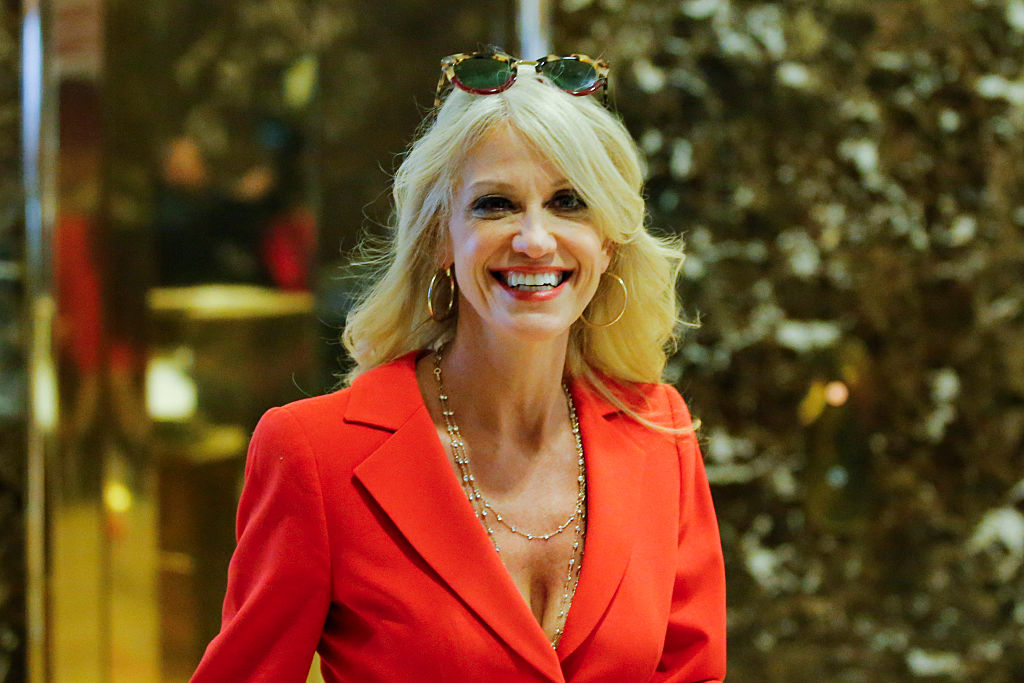 Kellyanne Conway smiles in the lobby of Trump Tower in New York City (Getty Images)