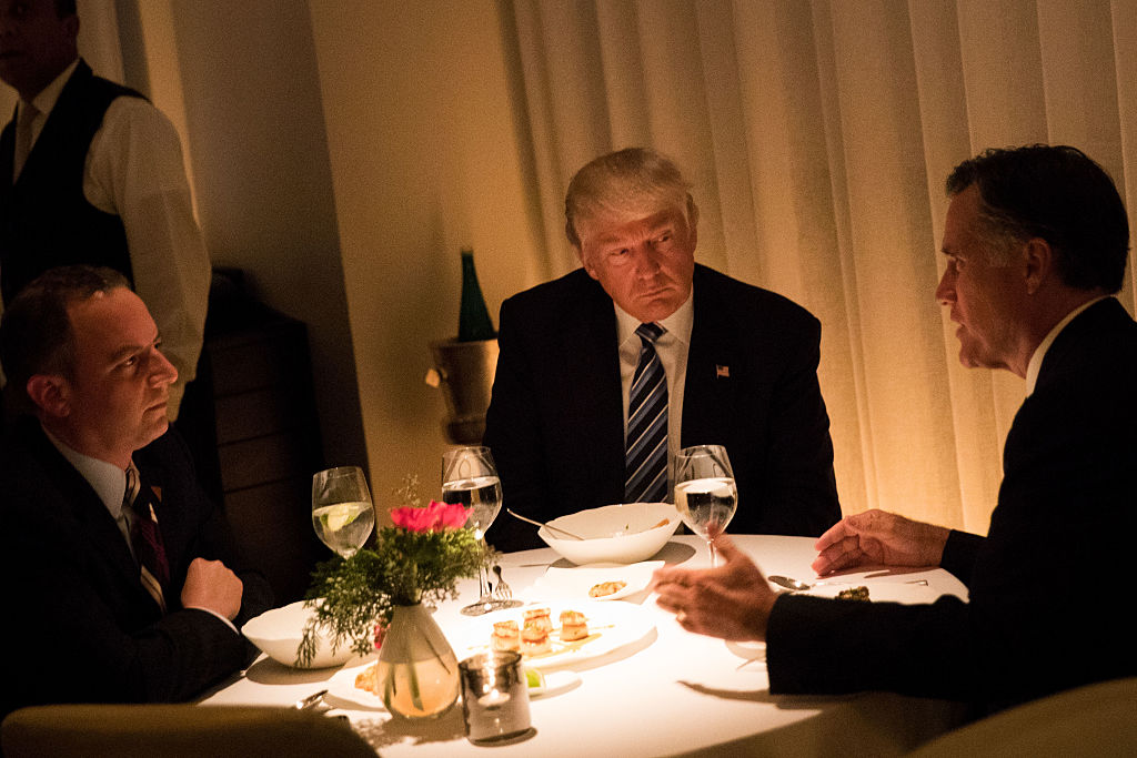 Donald Trump, Reince Priebus and Mitt Romney dine at Jean Georges restaurant in New York City on November 29, 2016 in New York City (Getty Images)