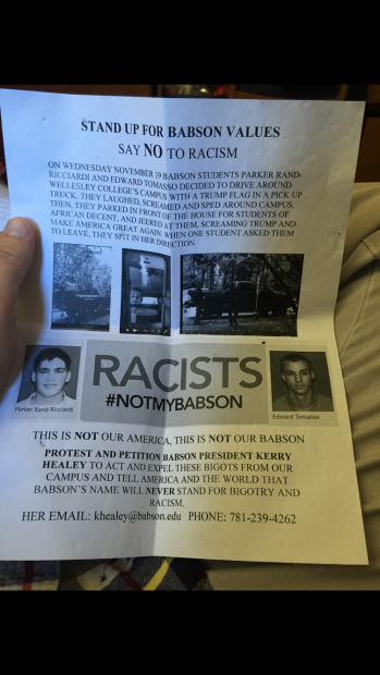 Flier denouncing Babson College students [Anonymous]