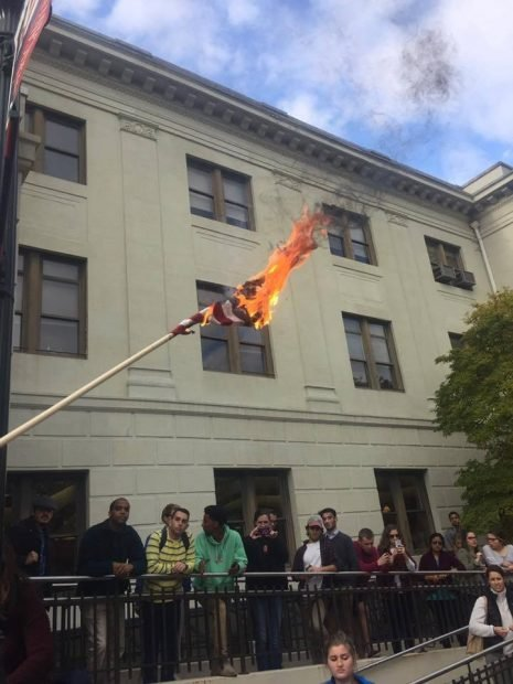 Flag burning at American University in Washington, DC (The Daily Caller, courtesy of Jo Reseter)