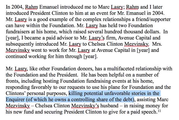 Passage from Nov. 12, 2011 memo written by Doug Band. (via WikiLeaks)