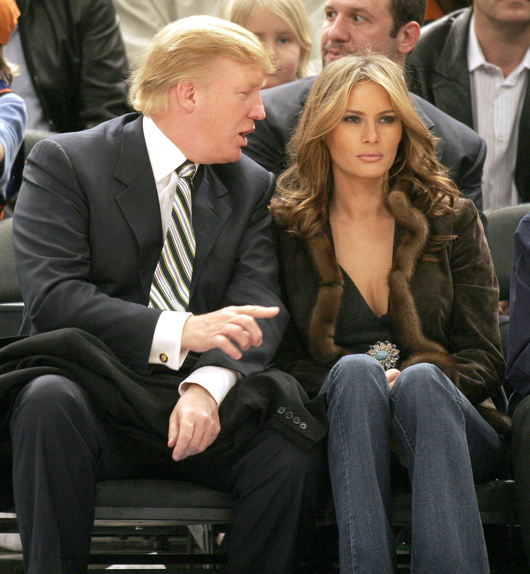Donald and Melania Trump attend a New York Knicks vs. Miami Heat basketball game. (Photo credit: Splash News)