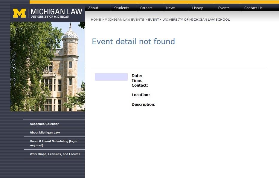 University of Michigan Law School webpage