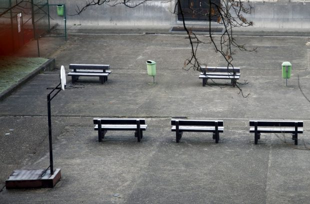 An empty playground is pictured at a closed primary and secondary school in Brussels, November 23, 2015, after security was tightened in Belgium following the fatal attacks in Paris. REUTERS/Francois Lenoir - RTX1VDQK