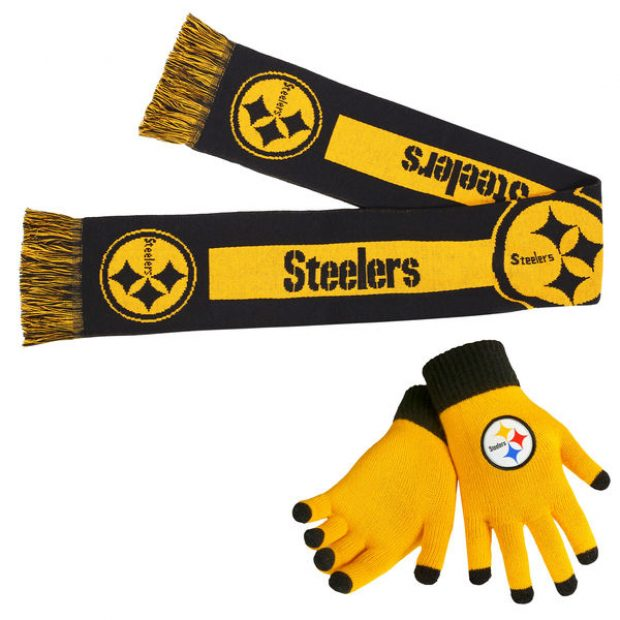 Normally $30, this gloves and scarf set is on sale for $15. Obviously, the Steelers aren't the only team available (Photo via Fanatics)