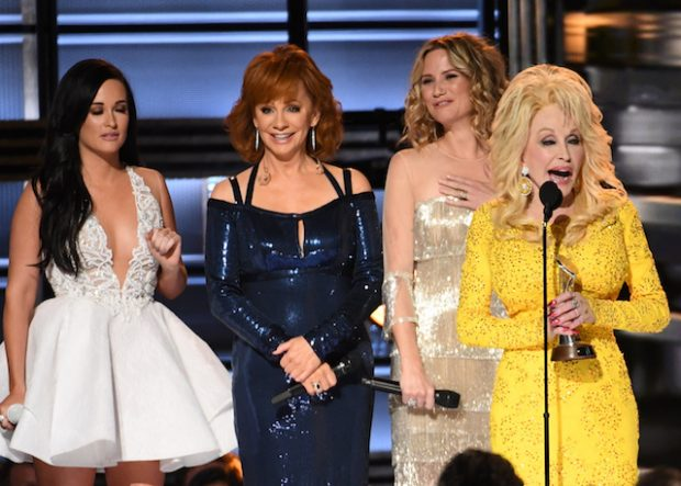 Stage at the 2016 CMA Awards, 'Country Music's Biggest Night', held at Bridgestone Arena in Nashville, Tennessee. <P> Pictured: Dolly Parton, Kacey Musgraves, Reba McEntire, Jennifer Nettles, Miranda McBride, Carrie Underwood <B>Ref: SPL1386122 051116 </B><BR /> Picture by: AdMedia / Splash News<BR /> </P><P> <B>Splash News and Pictures