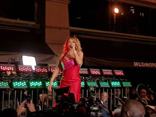 Mariah Carey makes a special appearance and performs at Hudson's Bay & Saks Fifth Avenue holiday window unveiling event in Toronto, Canada. This was Mariah Carey's 1st performance and public event since her split with billionaire James Packer. It is reported that Saks payed Mariah $1Million dollars to perform 2 songs at the event. Mariah was wearing a Red Dress & performed outside the Store to thousands of fans on Queen Street. <P> Pictured: Mariah Carey <B>Ref: SPL1387373 041116 </B><BR /> Picture by: 246Paps / Splash News