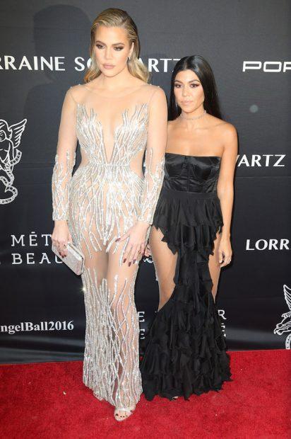 Khloe Kardashian at the 2016 Angel Ball in New York City. <P> Pictured: Khloe Kardashian, Kourtney Kardashian <B>Ref: SPL1398368 211116 </B><BR /> Picture by: Splash News
