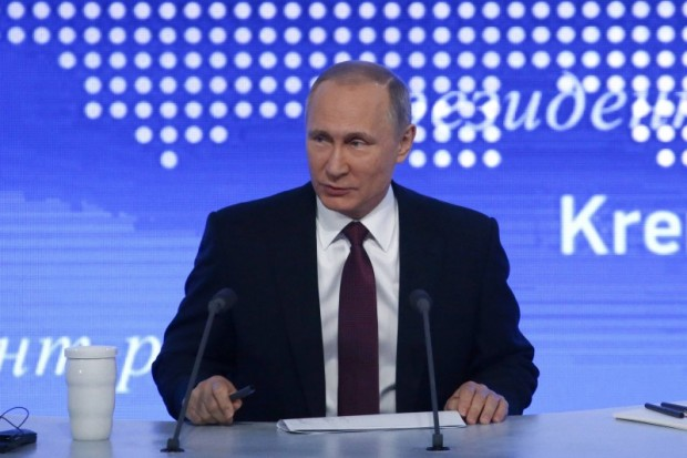 Russian President Putin attends his annual end-of-year news conference in Moscow
