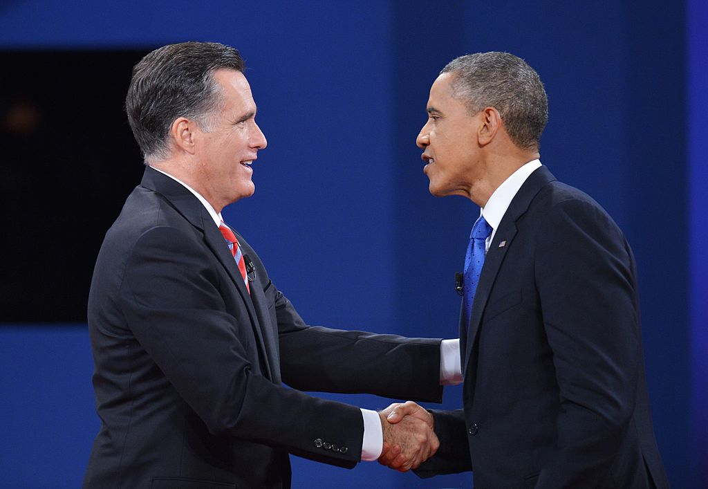 Mitt Romney and Barack Obama square off in a 2012 presidential debate (Getty Images)