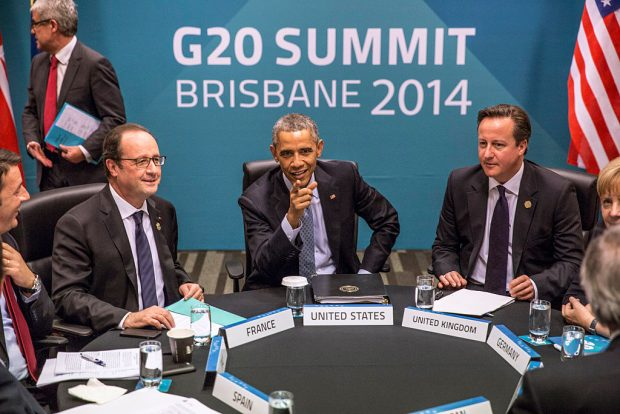 BRISBANE, AUSTRALIA - NOVEMBER 16: (L-R) Spain's President Mariano Rajoy Brey, Italy's Prime Minister Matteo Renzi, President of France Francois Hollande, U.S. President Barack Obama, Britain's Prime Minister David Cameron, Germany's Chancellor Angela Merkel and European Commission President Jean-Claude Juncker attend the Transatlantic Trade and Investment Partnership (TTIP) meeting at the G20 Summit on November 16, 2014 in Brisbane, Australia. World leaders have gathered in Brisbane for the annual G20 Summit and are expected to discuss economic growth, free trade and climate change as well as pressing issues including the situation in Ukraine and the Ebola crisis. (Photo by Glenn Hunt/Getty Images)