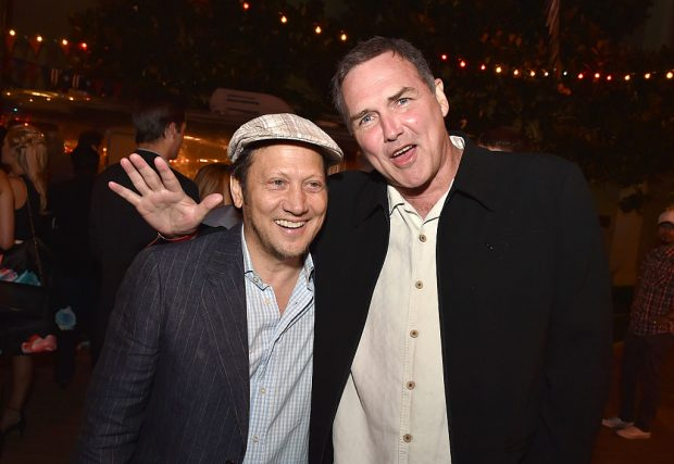 Rob Schneider poses for a photo with Norm Macdonald (Getty Images)