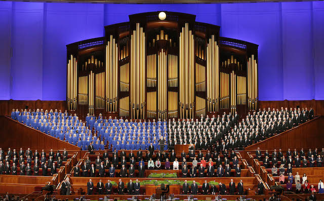 The Mormon Tabernacle Choir and church leaders sing together in the Conference Center during the 186th Annual General Conference of the Church of Jesus Christ of Latter-Day Saints on April 2, 2016 in Salt Lake City, Utah. (Photo by George Frey/Getty Images