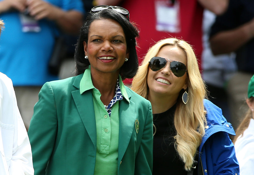 Condoleezza Rice watches the Par 3 Contest prior to the start of the 2016 Masters Tournament (Getty Images)