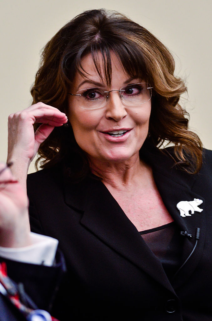"""Sarah Palin speaks during the """"Climate Hustle"""" panel discussion at the Rayburn House Office Building on April 14, 2016 in (Getty Images)"""
