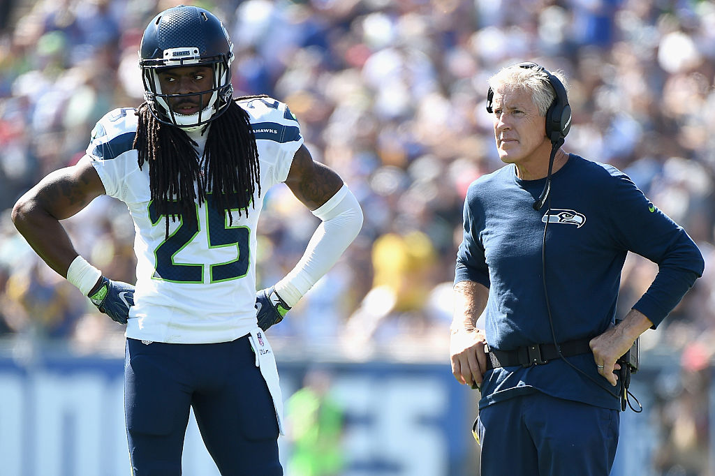 Richard Sherman, Pete Carroll (Photo credit: Getty Images)