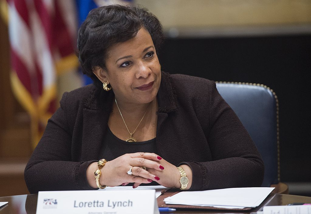 Loretta Lynch attends a roundtable meeting about the US Department of Justice's Servicemembers and Veterans Initiative in Washington, DC on November 2, 2016 (Getty Images)