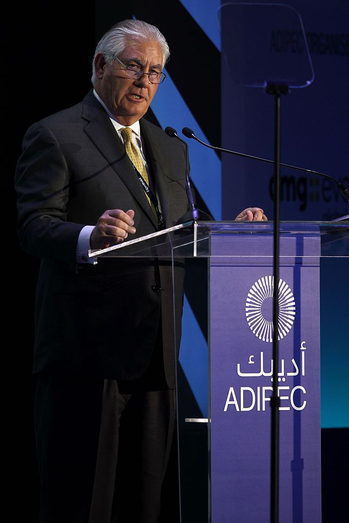 Rex Tillerson speaks the during Abu Dhabi International Petroleum Exhibition and Conference on November 7, 2016 (Getty Images)