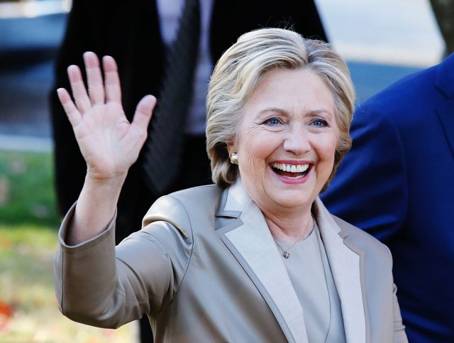 Hillary Clinton greets supporters after casting her vote in Chappaqua, New York on November 8, 2016. (Photo: EDUARDO MUNOZ ALVAREZ/AFP/Getty Images)