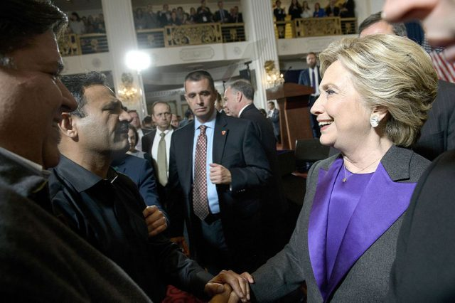 Former Democratic presidential candidate Hillary Clinton greets people after speaking to supporter and staff at the New Yorker Hotel following her defeat in the presidential election November 9, 2016 in New York. (BRENDAN SMIALOWSKI/AFP/Getty Images)