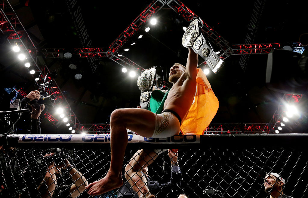 Conor McGregor of Ireland celebrates his KO victory over Eddie Alvarez of the United States in their lightweight championship bout during the UFC 205 event at Madison Square Garden on November 12, 2016 in New York City. (Photo by Michael Reaves/Getty Images )