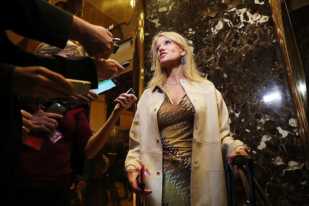 Kellyanne Conway speaks to reporters at Trump Tower (Getty Images)