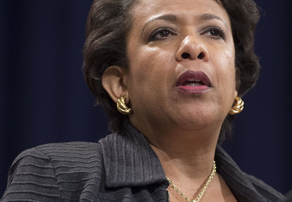 Loretta Lynch speaks during a Naturalization Ceremony for new US Citizens at the Department of Justice in Washington, DC on November 17, 2016 (Getty Images)