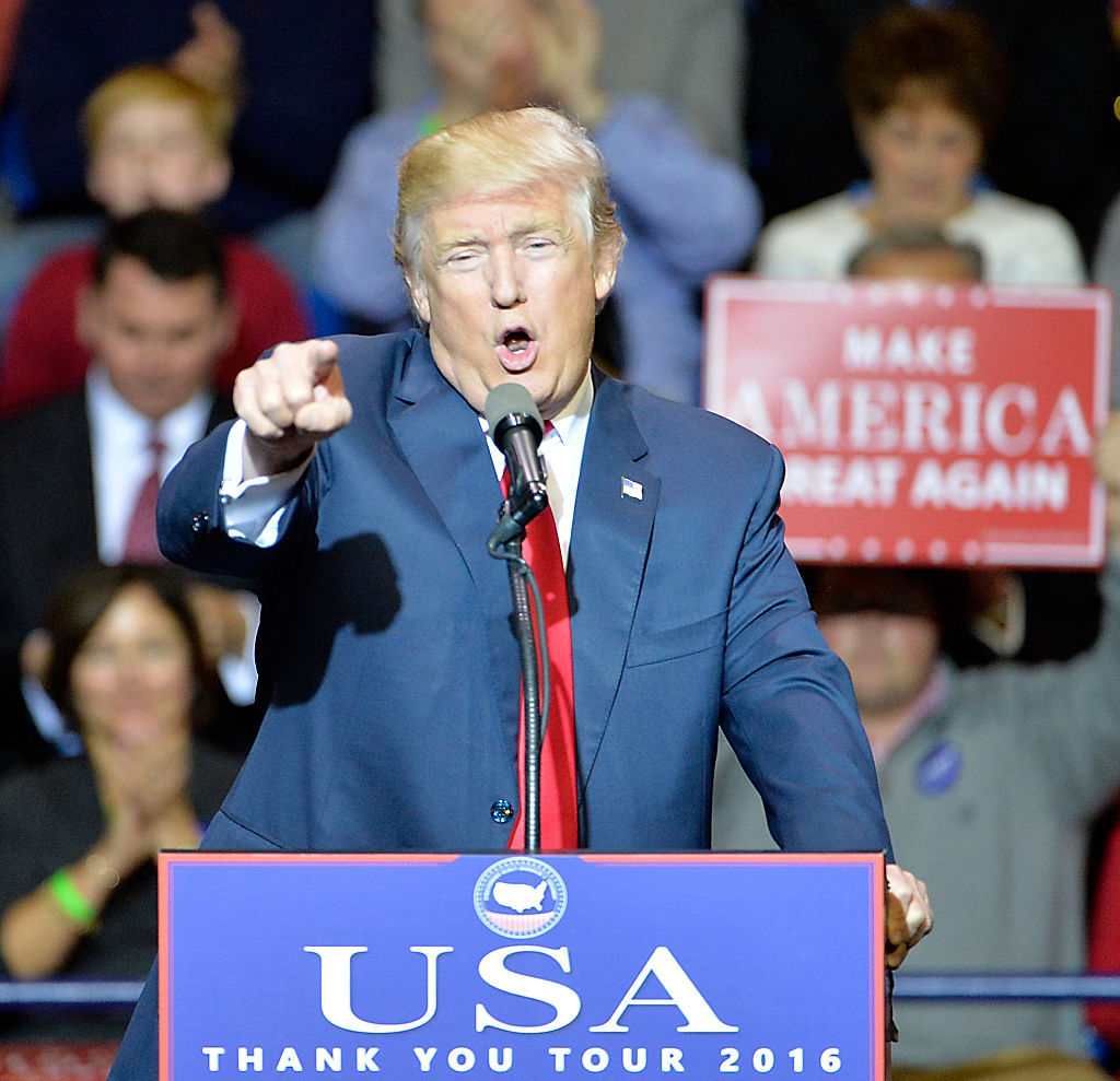 Donald Trump addresses an audience at Crown Coliseum on December 6, 2016 in Fayetteville, North Carolina (Getty Images)