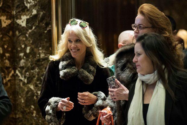 Kellyanne Conway departs Trump Tower on December 8, 2016 (Getty Images)