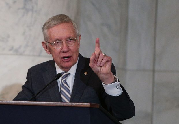 Harry Reid speaks during his leadership portrait unveiling ceremony on December 8, 2016 at the U.S. Capitol (Getty Images)