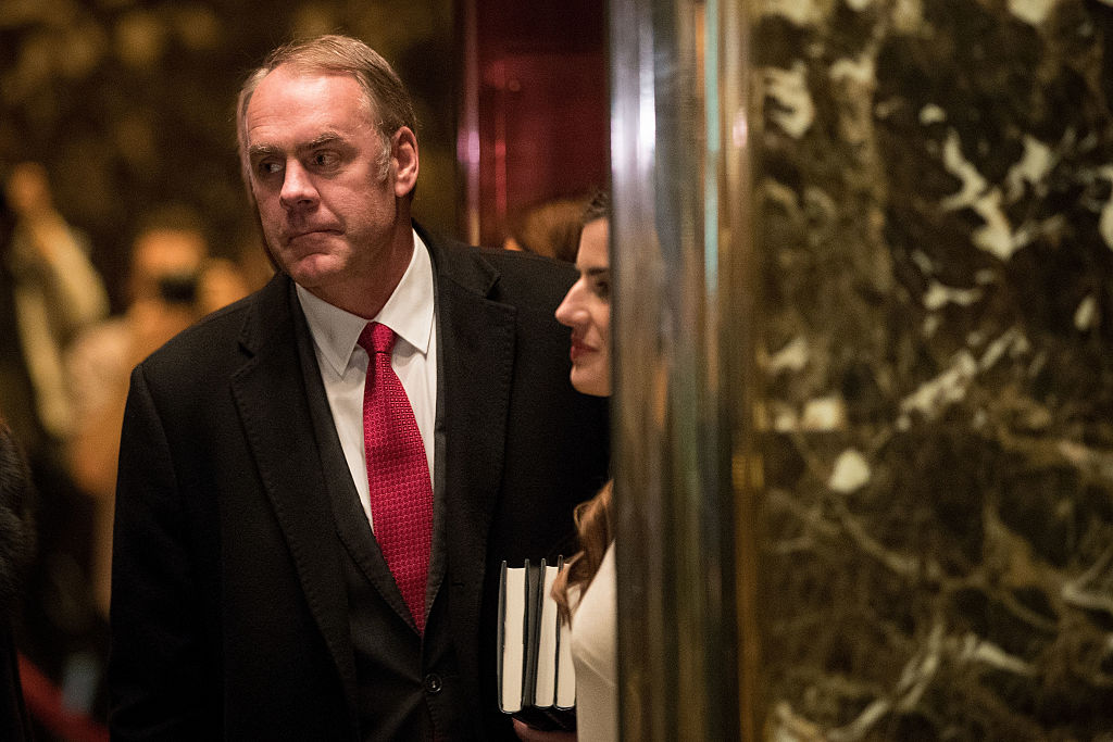 Ryan Zinke arrives at Trump Tower on December 12, 2016 (Getty Images)