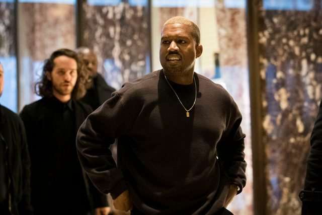 NEW YORK, NY - DECEMBER 13: Kanye West arrives at Trump Tower, December 13, 2016 in New York City. President-elect Donald Trump and his transition team are in the process of filling cabinet and other high level positions for the new administration. (Photo by Drew Angerer/Getty Images)
