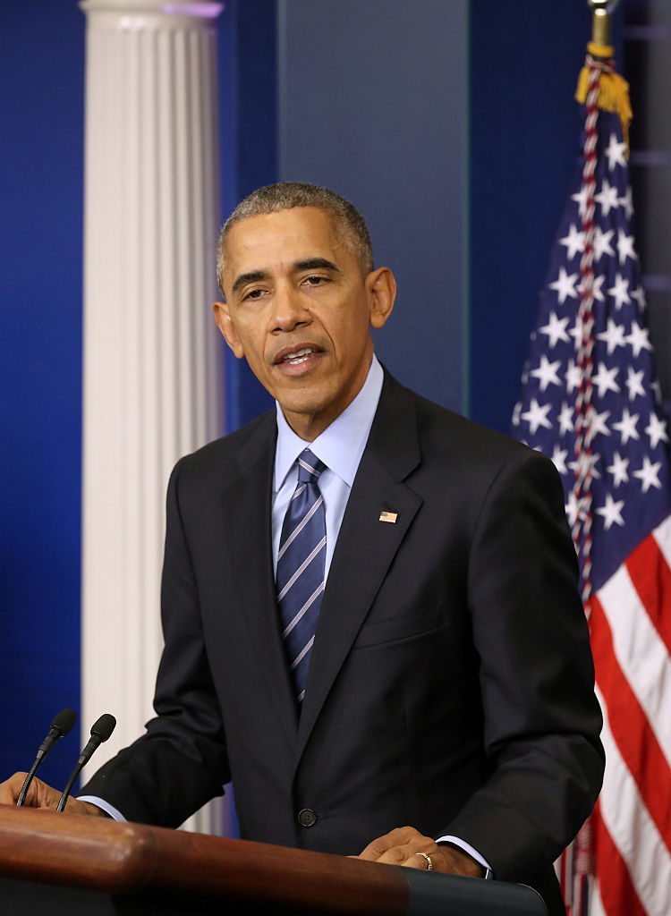 Barack Obama speaks to reporters in the White House briefing room (Getty Images)