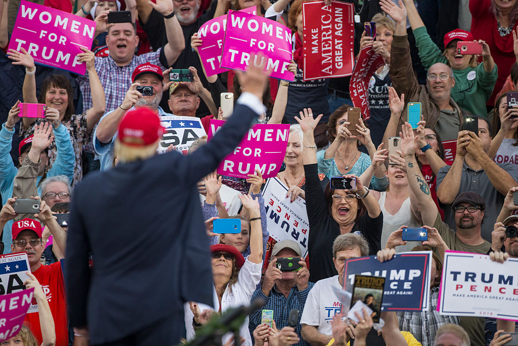 Donald Trump attends a victory rally in Mobile, AL (Getty Images)