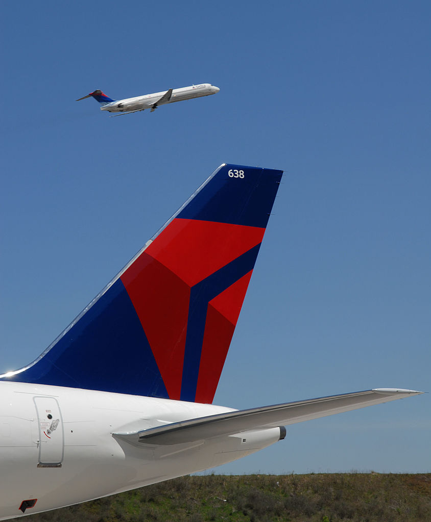 A Boeing 757 with Delta Airlines' new logo sits on the tarmac (Getty Images)