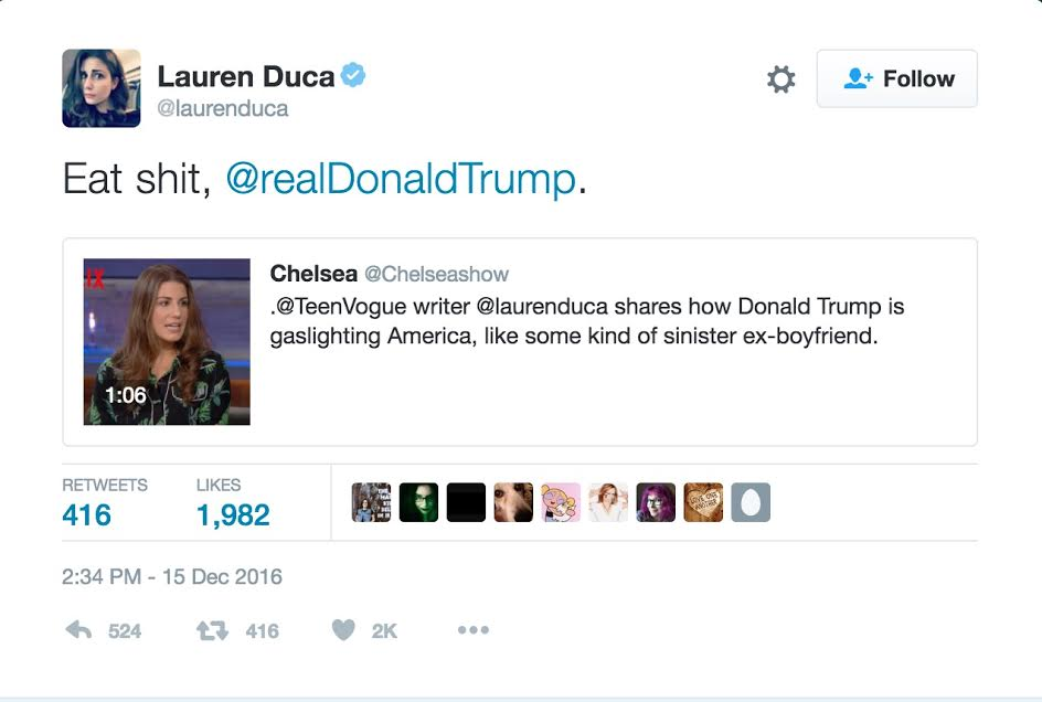 "Lauren Duca tells Donald Trump to ""eat shit."" Screenshot/Twitter"
