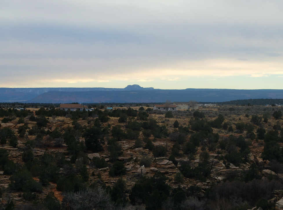 The Bears Ears are clearly visible towards the East of Blanding.
