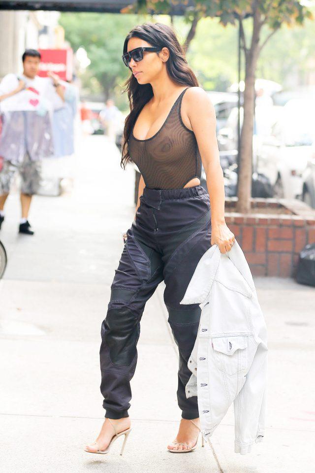 ac689c9bea70d Kim Kardashian Left Her House Wearing A Sheer Top And No Bra