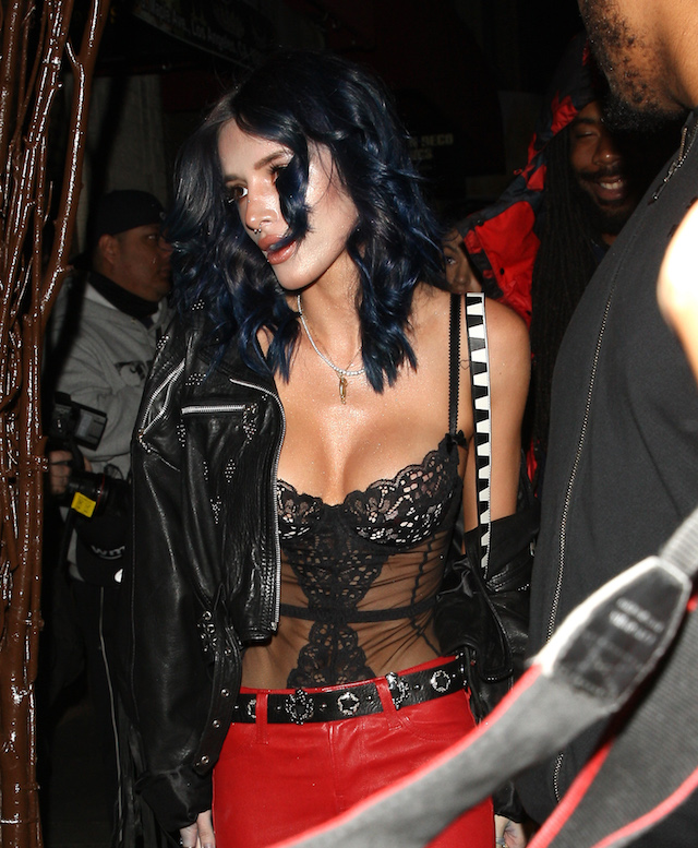 Bella Thorne shows off her dark blue hair due as she attends Rae Sremmurd's birthday party held at the Think Tank Art Gallery in Los Angeles, California on December 29, 2016. <P> Pictured: Bella Thorne <B>Ref: SPL1414921 291216 </B><BR /> Picture by: Photographer Group / Splash News