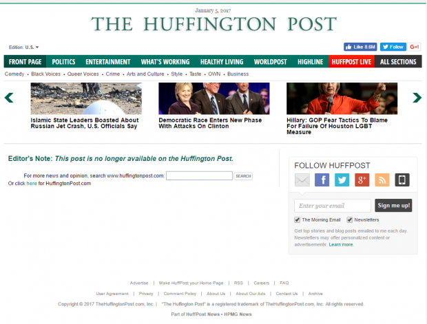 HuffPo Nukes Election Conspiracy Theory From Its Website ...
