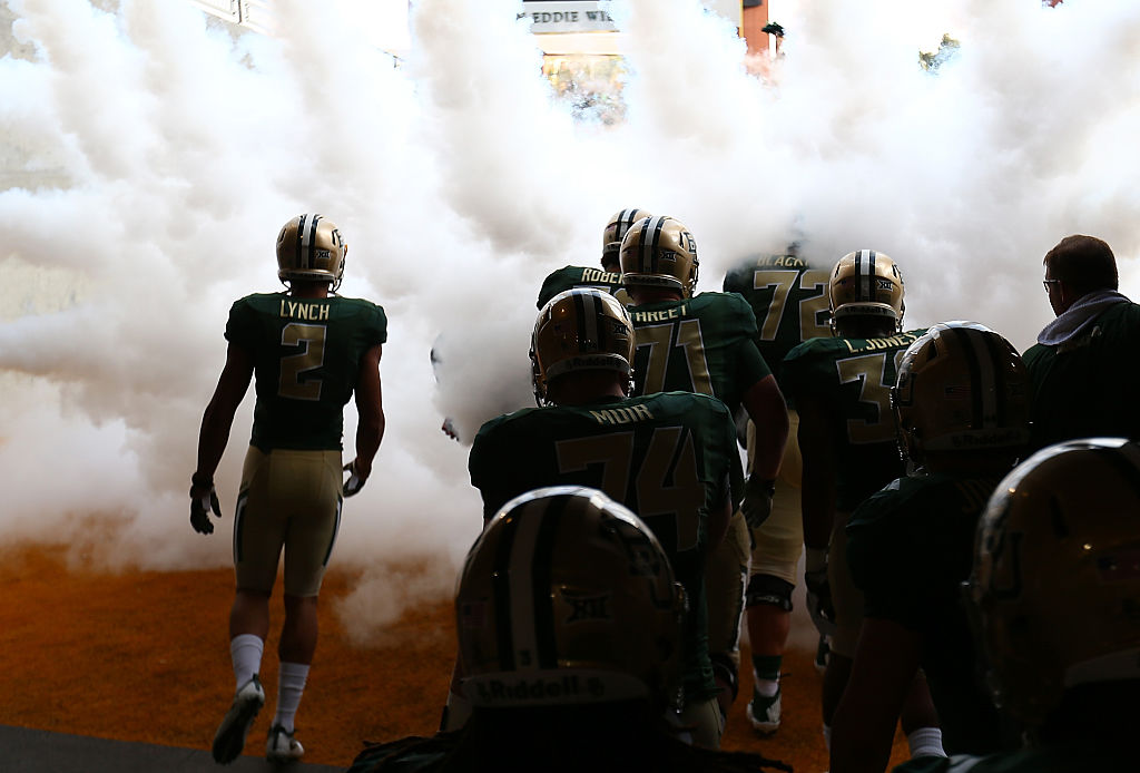 The Baylor Bears enter the field before a game against the Northwestern State Demons at McLane Stadium on September 2, 2016 in Waco, Texas. (Photo by Ronald Martinez/Getty Images)