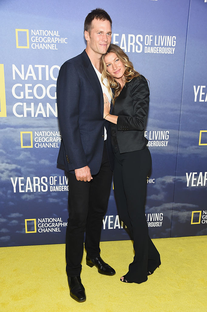 """Professional Football player Tom Brady and wife, model Gisele Bundchen attend National Geographic's """"Years Of Living Dangerously"""" new season world premiere at the American Museum of Natural History on September 21, 2016 in New York City. (Photo by Michael Loccisano/Getty Images)"""