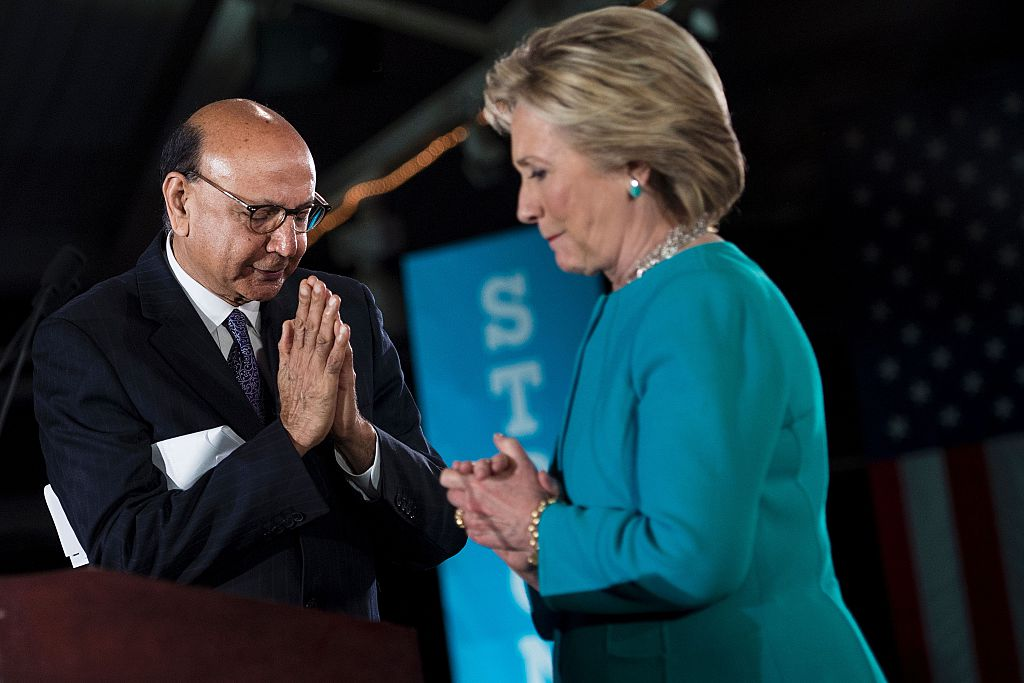 Khizr Khan campaigns with Hillary Clinton (Getty Images)