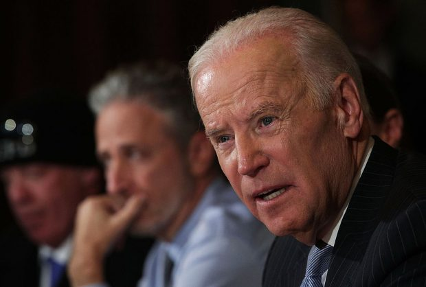 Vice President Joe Biden speaks during a roundtable on the Cancer Moonshot Initiative as comedian Jon Stewart looks on December 13, 2016 at Eisenhower Executive Office Building in Washington, D.C. (Photo by Alex Wong/Getty Images)