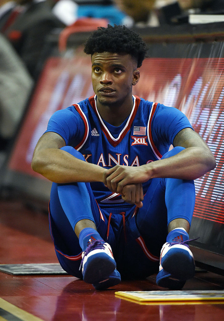 Lagerald Vick #2 of the Kansas Jayhawks waits to check in during a game against the UNLV Rebels at the Thomas & Mack Center on December 22, 2016 in Las Vegas, Nevada. Kansas won 71-53. (Photo by Ethan Miller/Getty Images)